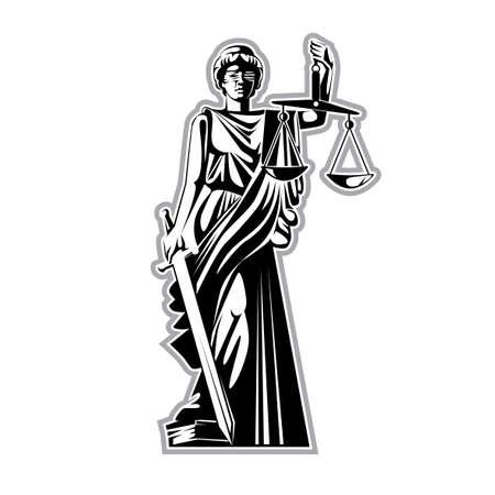 Vektorgrafik, grafische Schwarz-Weiß-Silhouette, die griechische Göttin der Gerechtigkeit mit Augenbinde, Waage und Schwert, die mit einem Fuß auf dem Buch des Gesetzes steht. Vektorgrafik