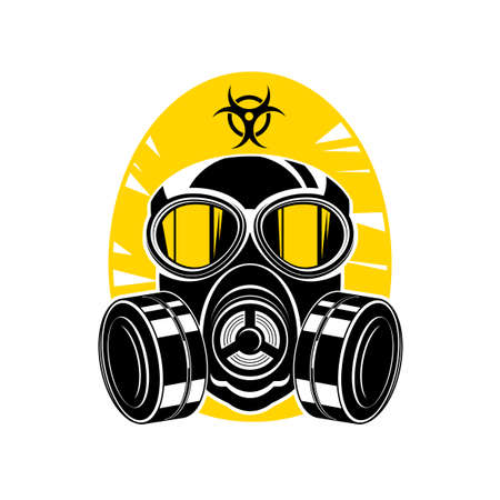 Vector illustration of a silhouette of a protective suit, gas mask with lenses and a hood, sign chemical hazard Ilustração