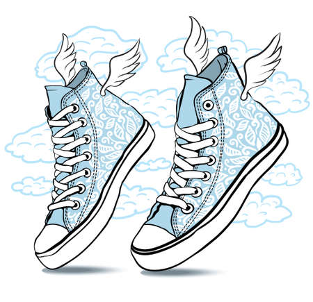 sneakers patterned laces and wings fly on a background of clouds