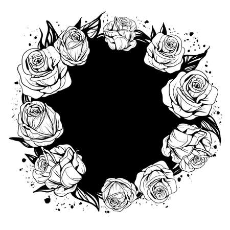 black circle is decorated with leaves and flowers of roses and ink stains Ilustração