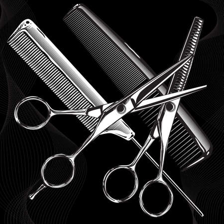 professional tools chrome metal scissors and combs on a black background