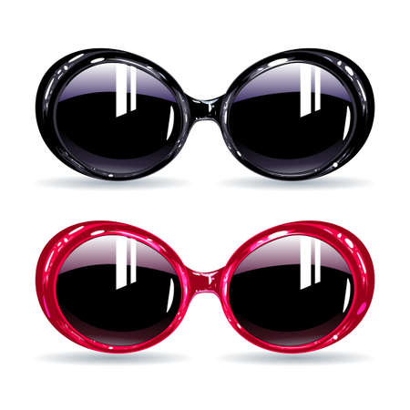 Collection of original sunglasses, vector illustration fashionable glasses with dark pink and black frame