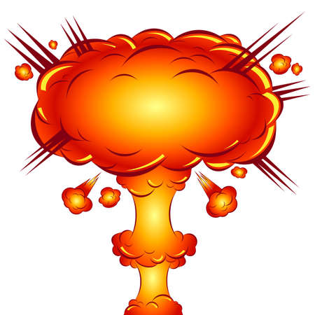 isolated vector cartoon illustration of a bomb blast in style comics