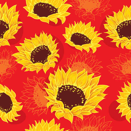 Seamless vivid sketch of stylized sunflowers and orange flowers red background Ilustração