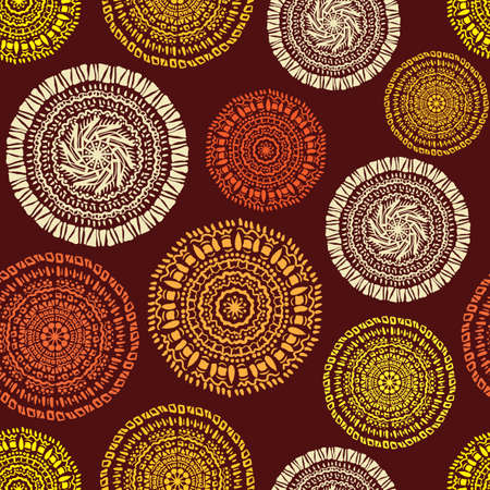 African ethnic seamless pattern sketch circular ornaments