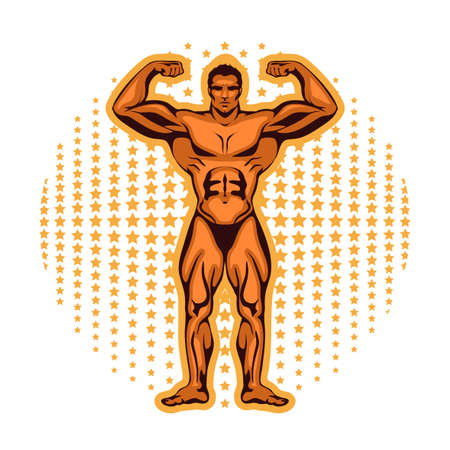 Vector illustration of an athlete with beautiful muscles, a bodybuilder in a sports rack with against the stars