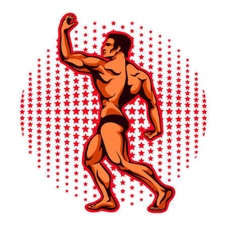 Vector illustration of an athlete with beautiful muscles, a bodybuilder in a sports rack with his back against the stars Illustration