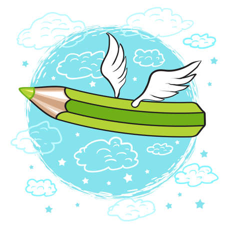 vector illustration cartoon green colored pencil with wings flies on a blue background with clouds