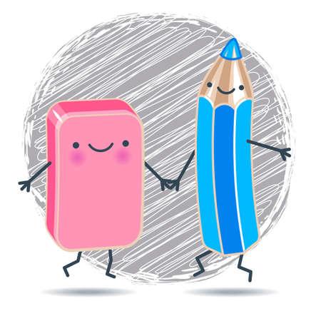Vector illustration drôle mignon crayon bleu et vecteur gomme rose contre tenir les mains l'arrière-plan de la trappe