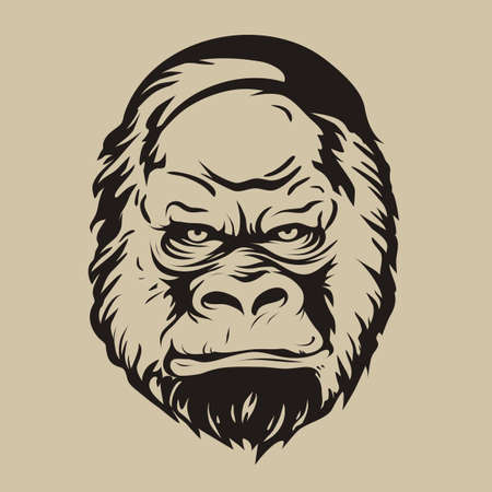 Vector illustration, graphic print, silhouette face gorilla, monkey in comic style on beige background