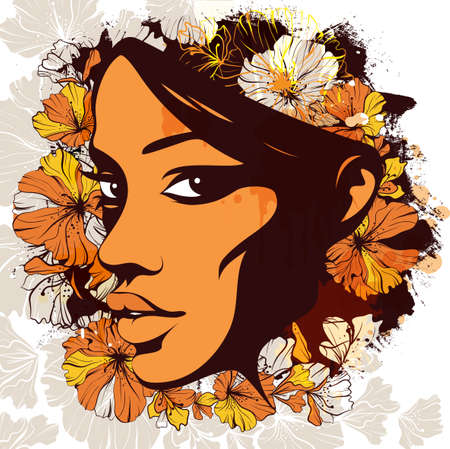 Vector illustration, graphic, silhouette of a female face decorated with flowers on the background of a watercolor