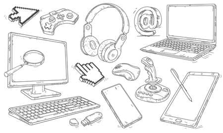 Vector illustration. Hand drawn set of computer devices work in the office and play. Ilustração