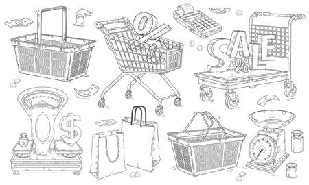 Set of hand-drawn icons, baskets and shopping carts, scales and packages. SVector illustration, isolated stickers.