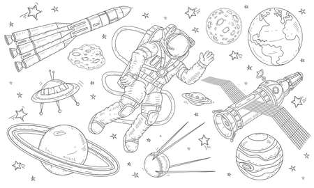 Set of drawn icons, astronaut flying in space among the planets, satellites and missiles. Vector illustration, isolated stickers.