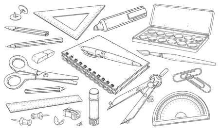 Ilustración de vector. Conjunto dibujado de papelería, materiales de arte, bolígrafos y lápices de dibujo lineal. Ilustración de vector