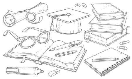 Education student Icons set isolated on white. Vector illustration. Accessories for student learning, student hat, diploma with seal, books and notebooks. Illustration