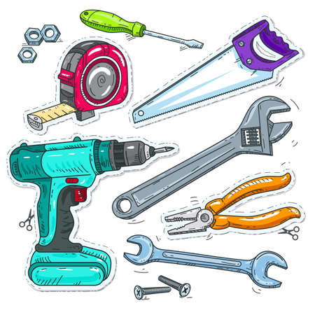 Vector illustration sketch, of comic style icons, set of carpentry tools, drill, saw and tape measure Ilustração