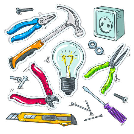 Vector illustration sketch, of comic style icons, colourful set of carpentry tools, light bulb, socket and hammer