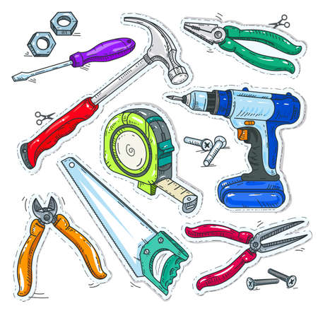 Vector illustration sketch, of comic style icons, colourful set of carpentry tools, hammer, drill and saw