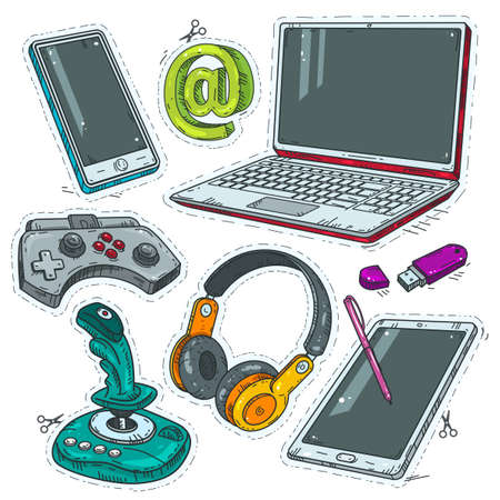 Vector set of comic style icons, computer stickers, joystick, headphones and laptop