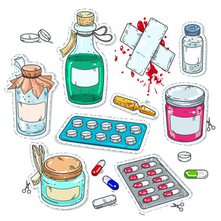 comic style icons, of medical drugs, bottles of medicines