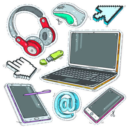Vector set of comic style icons, colourful sticker computer, Internet pointers, headphones and laptop
