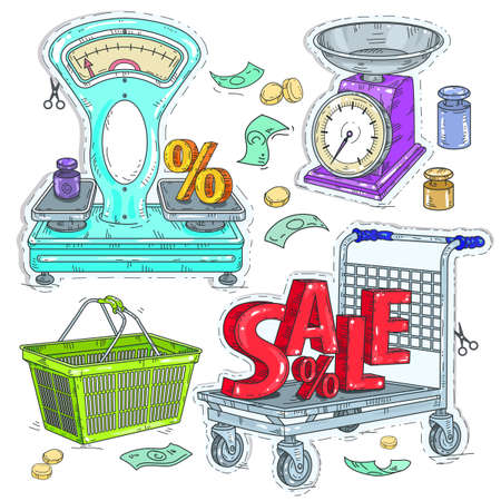 Vector illustration sketch, of comic style colorful icons, set supermarket and trade, the trading equipment, scales and shopping trolley and the inscription sale Banque d'images - 125330800
