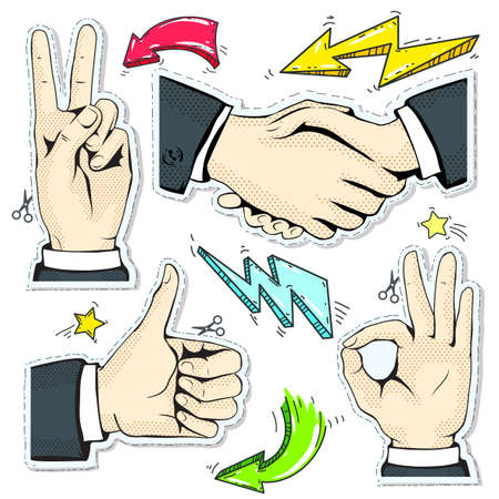 Vector illustration sketch, of comic style colorful icons, set hand, handshake, like and okay on the background lightning, star and arrows