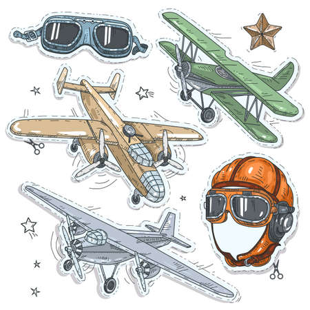 Vector illustration sketch, of comic style colorful icons, set retro old aircraft, pilot helmet and glasses pilot