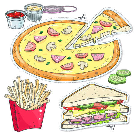 Vector illustration sketch, of comic style colorful icons, set fast food, pizza, sandwiches and fries