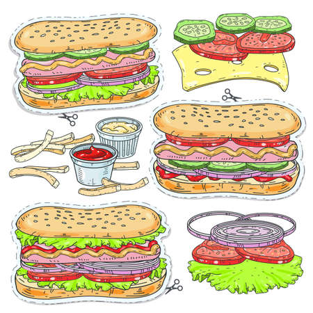 Vector sticker icon. Vector illustration sketch, of comic style colorful icons, set fast food, cartoon different hot dogs with sausage, greens and a bun with sesame seeds. Illustration