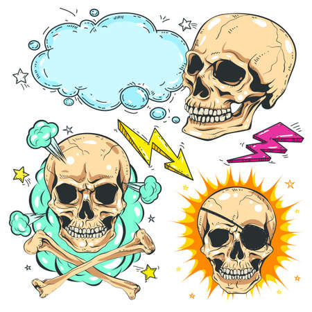 Vector set skull, comic style colorful icons, different skulls with bones