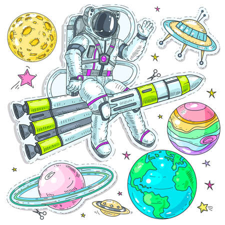 Vector illustration sketch, of comic style colorful icons, set cosmos, astronaut spaceman flies in space sits on a rocket and waves his hand, planet and UFO, background of bright stars