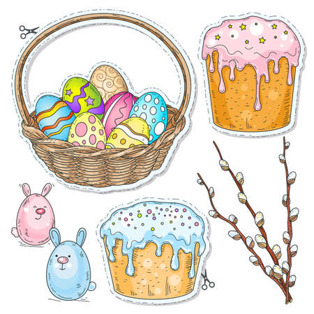 Vector illustration sketch, of comic style colorful icons, set Easter, Easter cake, painted eggs in a basket and willow branch drawn on notebook cell