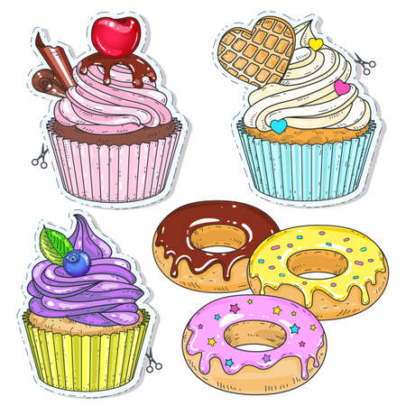 Vector illustration, icons colored dessert. Set candy, cupcakes, cakes and doughnuts isolated on white background. Ilustração