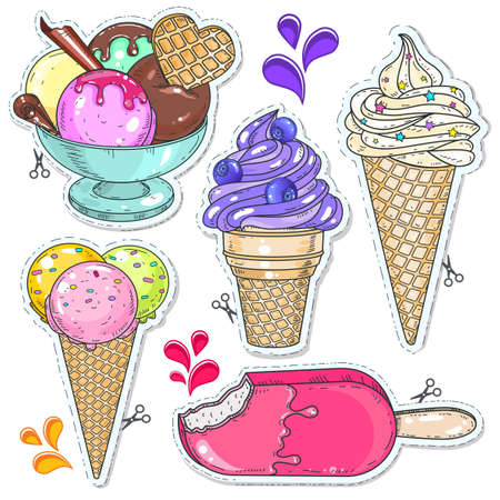Vector illustration, icons colored dessert. Set ice cream. Bright cold desserts, soft ice cream in waffle cone and ice cream balls in cup isolated on white background