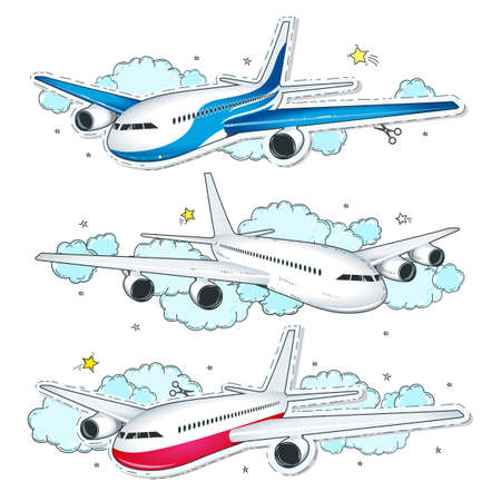 Vector illustration sketch, of comic style colorful icons, set aircraft, planes on the background of clouds Ilustração