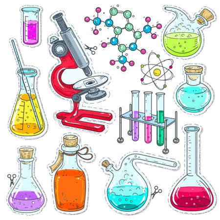 Vector illustration sketch, of comic style icons. Set colorful of chemical laboratory equipment, test tubes, flasks with colored liquid, microscope and molecules isolated on white background