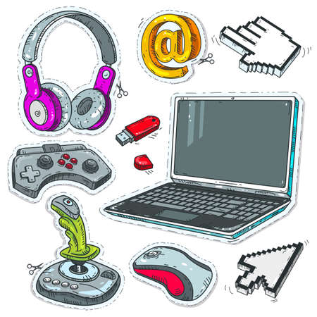 Vector illustration sketch, of comic style icons. Set computer technology, laptop, game joysticks and cursors pointers for computer mouse isolated on white background
