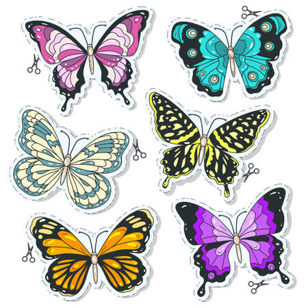 Vector illustration, colorful icons, set various decorative butterflies, insect, tattoo color butterfly isolated on white background