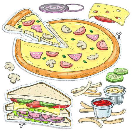 Szkic ilustracji wektorowych, komiks stylu ikon. Zestaw fast foodów, ciętej pizzy, kanapek, serów, pieczarek i sosów na białym tle Ilustracje wektorowe