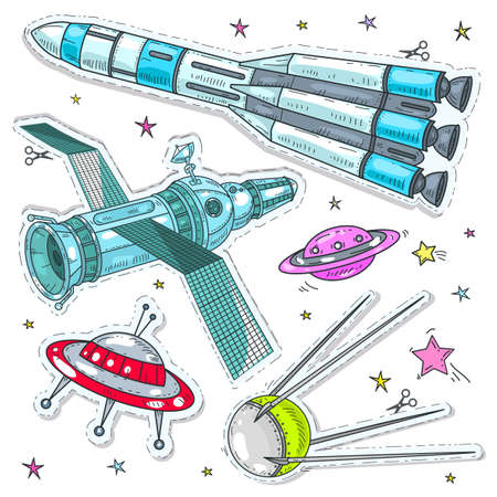 Vector illustration sketch, of comic style colorful icons, set cosmos, spaceship, rocket, satellite and UFO against the background of bright stars