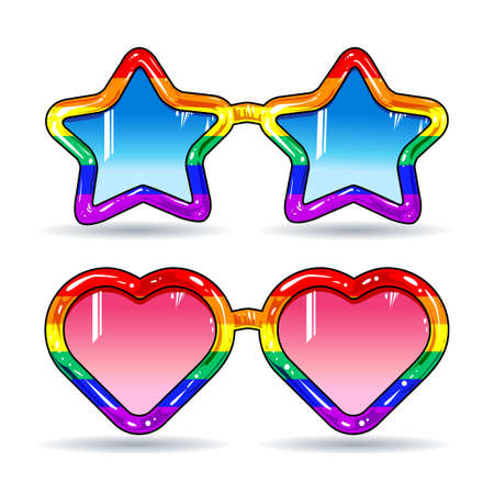 disco sunglasses in the shape of hearts and stars, frame in rainbow colors