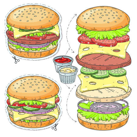 Vector sticker icon. Vector illustration sketch, of comic style colorful icons, set fast food, cartoon hamburger with cheese and sesame seeds. Illustration