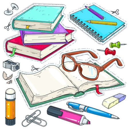 Vector illustration, icons colored stationery for school and student. Set for study, an open book with glasses, a notebook on a spring, a pen marker and a pencil isolated on white background