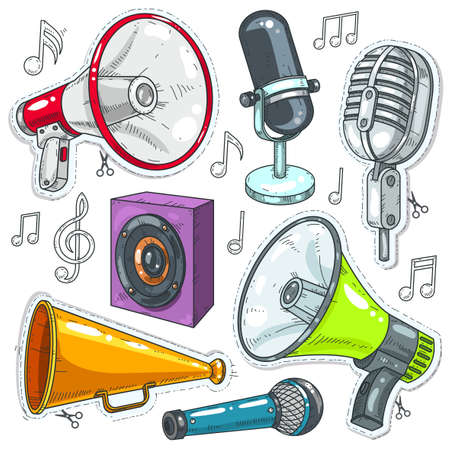 Vector illustration, icons speaker, microphone and speakers.