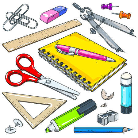 Vector illustration, icons colored office supplies, stationery for school and student, notebook with pen, marker and scissors isolated on white background Ilustração Vetorial