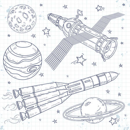 Vector icons satellite, space rocket and planets Ilustração