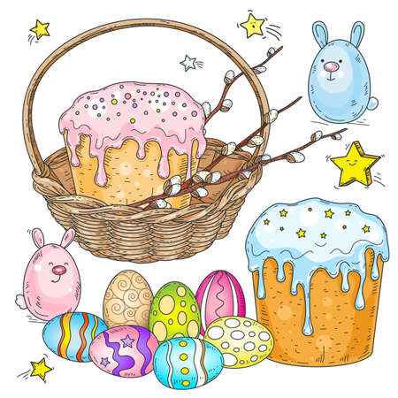 Easter set. Easter cake with willow branches in a wicker basket and painted Easter eggs Ilustração