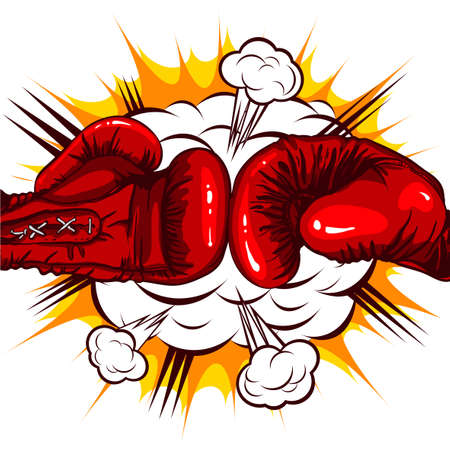 red Boxing gloves retro on the background of the cloud of explosion